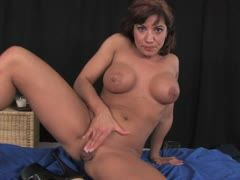 Brunette slut has sex with her dildo