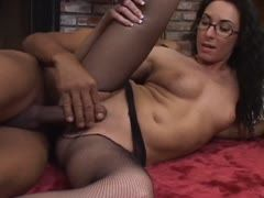 Bare pussy under the fishnet pantyhose