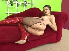 Anal sex in red latex boots